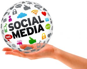 A social media ball held in a hand