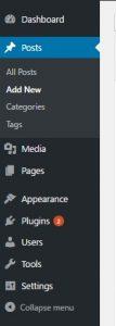 A WordPress menu