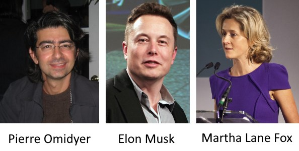 Pierre Omidyer, Elon Musk, and Martha Lane Fox