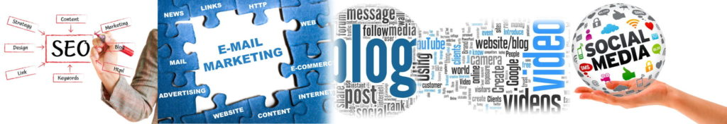 SEO, Email Marketing, Blog, Video and Social banner