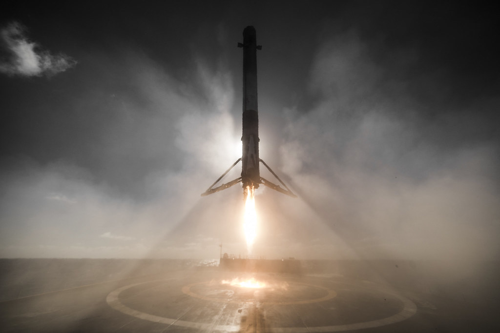 A Space X Falcon 9 first stage landing