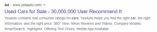 A typical Google Ad with a headline and a couple of lines of description